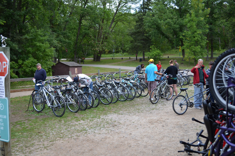 lineup of bikes to rent at Itasca State Park